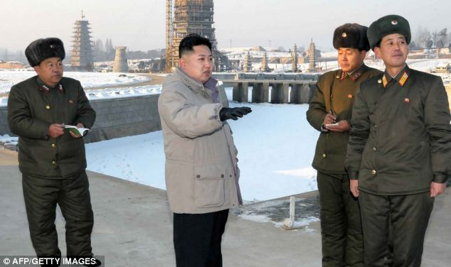 New leader: Kim Jong-un inspects the planned construction site for the Pyongyang Folk Park