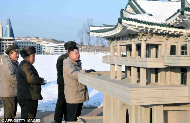 Visit: The new leader takes a closer look at the site in Pyongyang
