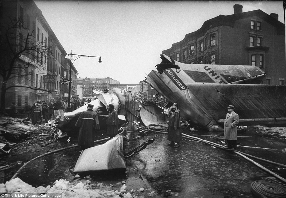 Disaster: A United DC-8 crashed into the Brooklyn neighbourhood of Park Slope after slamming into another flight mid-air