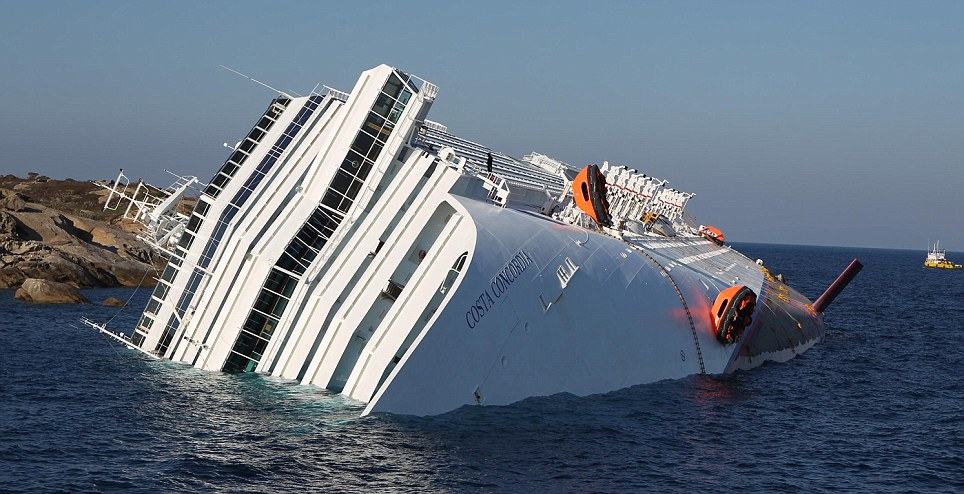 The Costa Concordia after the evacuation off the Itaiian coast had been completed. Tonight Captain Francesco Schettino was being quizzed by police