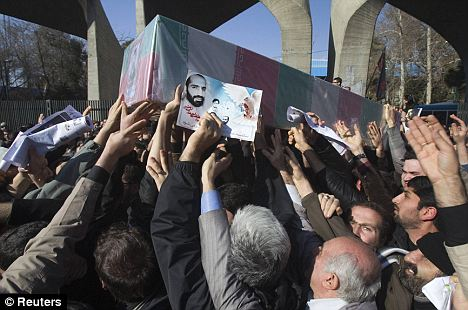 Aftermath: The killing has sparked outrage in Iran, and state TV broadcast footage Saturday of hundreds of students marching in Tehran