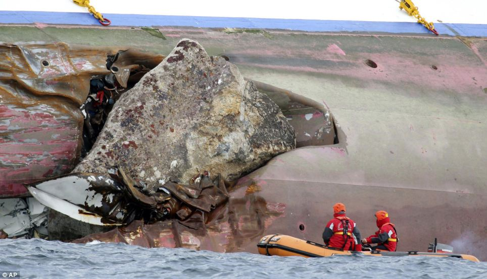Dramatic evidence: Huge piece of rock from seabed ripped hole in hull of liner when it hit rocks