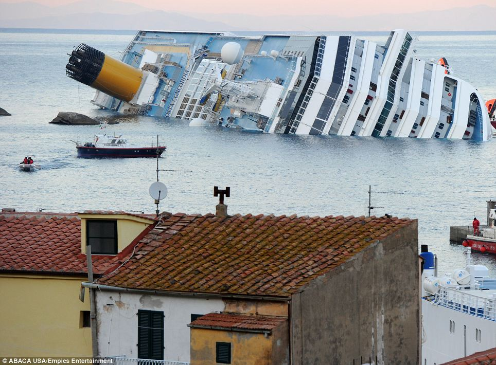 'Titanic': The cruise ship carrying more than 4,000 people keeled over off the Italian coast near the island of Giglio in Tuscany, Italy