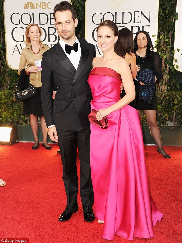 Pretty in pink: Natalie Portman attended with her husband Benjamin Millepied, with whom she has a son Aleph