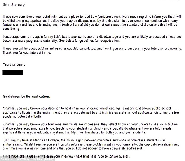 Letter in full: The rejection letter that Elly Nowell, 19, sent to Oxford University via email