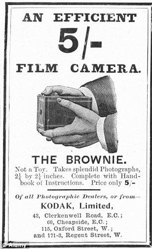 Pionera: la cámara Kodak Brownie, como se anuncia en The Illustrated London News en 1900