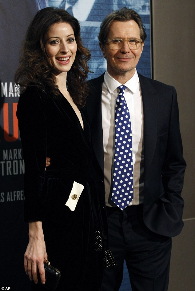 Star: British actor Gary Oldman had teh support of his wife, Alexandra at the premiere for his movie