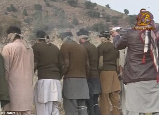 Disturbing footage: The paramilitary troops were abducted by Pakistan's Taliban on December 23 and in the video, they are shown to be handcuffed, blindfolded and lined up, before being shot at point-blank range