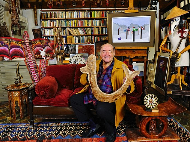 Desmond Morris at his house in Oxford surrounded by some of his favourite things including his great-grandfather's brass microscope and a painting he completed a few months ago
