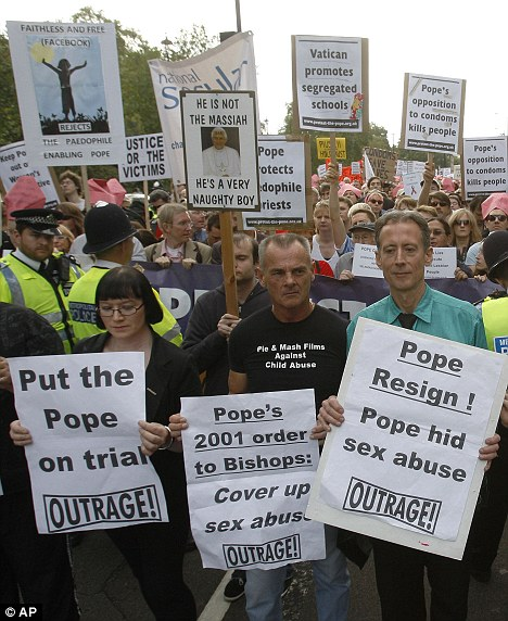 Image result for Maloney and Tatchell protesting TOGETHER against the Pope