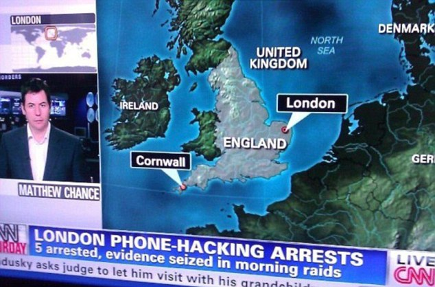 London calling: CNN's graphic pinpointed the capital city as being situated in Norfolk
