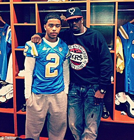 Justin and his dad P Diddy pictured here during a visit to UCLA