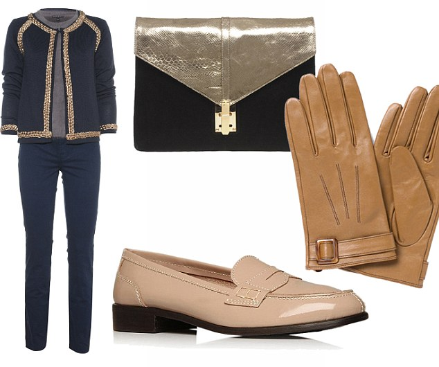 On trend: Gold-trim cardigan, £57.50, frenchconnection.com. Theory sweater, £220, Fenwick, 020 7629 9161. JBrand jeans, £170, Trilogy, 020 7937 7972. Bag, £33, asos.com. Gloves, £11, monsoon.com. Loafers, £45, debenhams.com
