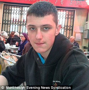 Attack: Daniel Stringer-Prince, 17, has managed to open one of his eyes