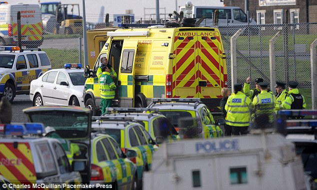 Standby: Nine fire engines, paramedics and police waited near the runway as the plane came down