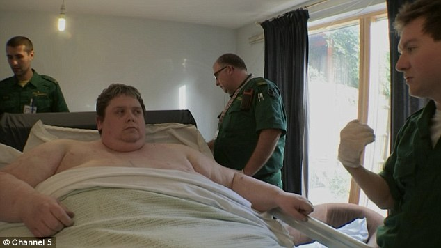 Larger than life: Specialist ambulance crews are called to care for Keith Martin who is too big to look after himself