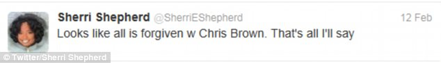 In agreement: The View host Sherri Shepherd also did her best to repress her feelings towards the singer