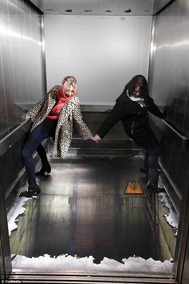 Hold on for dear life: Would you step into the lift if the doors opened to this view?