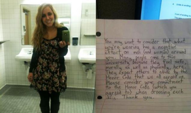 Offensive? Brittany Molina posted what she was wearing when she was handed a note from a male student at Brigham Young University, Utah saying her dress sense had a 'negative effect' on others