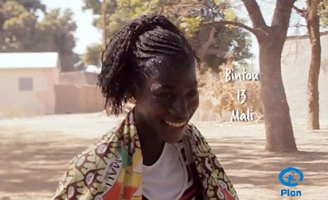Charity: Bintou from Mali is one of the young girls used to promote Plan UKs 'Because I Am A Girl' campaign