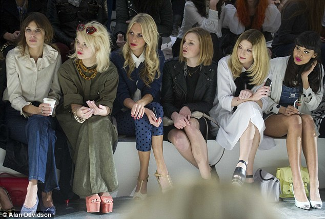 Star-studded: Alexa Chung, Pixie Geldof, Poppy Deleivigne, Laura Carmichael, Nicola Roberts and Jameela Jamil made up the very fashionable front row at the Topshop Unique AW12 Catwalk Show at London Fashion Week on Sunday