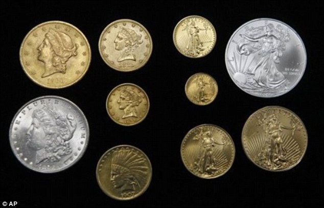 Varying values: Five coins on the left were minted over 100 years ago and are worth thousands of dollars. The five on the right were minted in the last few years and are worth their face values of $1 to $25