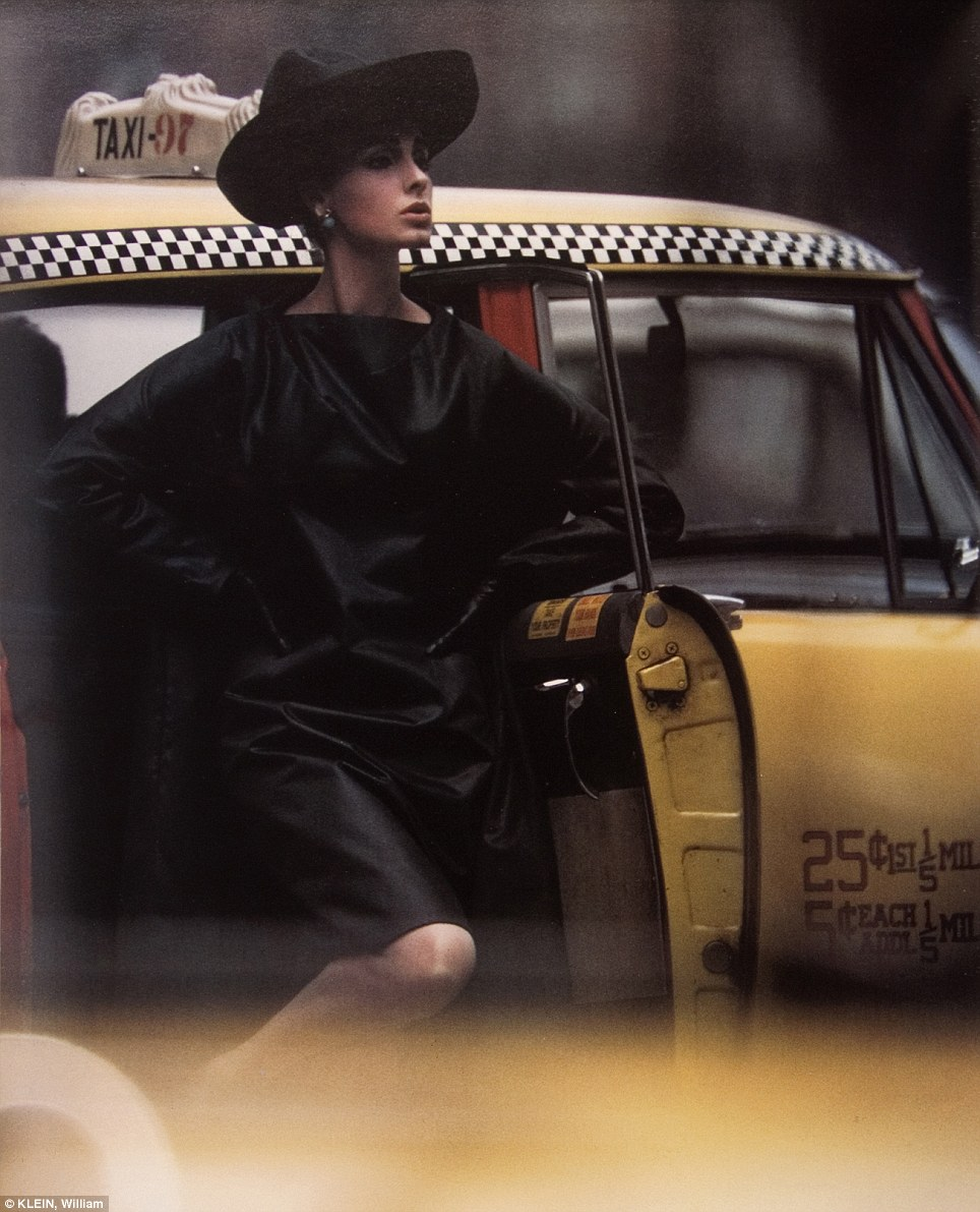Strike a pose: A woman steps out of a Yellow Taxi looking ever so chic, in 1962