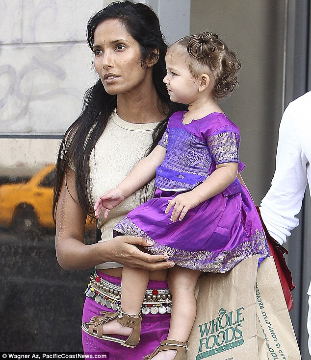 Mother and daughter: Padma Lakshmi was seen at lunch with her little girl Krishna in New York in August 2010