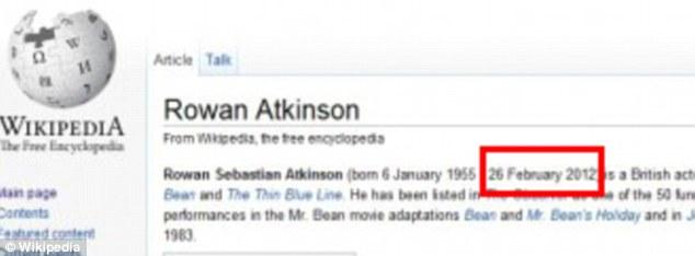 Error: Wikipedia Rowan Atkinson mostró brevemente la entrada tanto de su cumpleaños y la fecha de su muerte.  El error fue rápidamente corregido