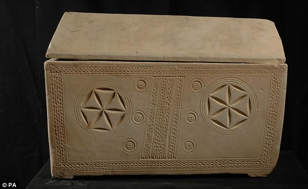 Coffin: One of the bone boxes or ossuaries uncovered after the discovery of the nearby Jesus Tomb in the early 1980s