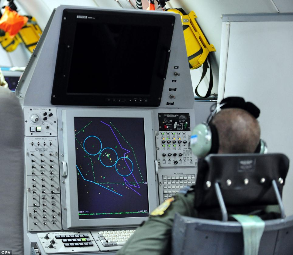 General view of monitoring screen inside the E-3D Sentry aircraft at RAF Waddington, Lincolnshire.