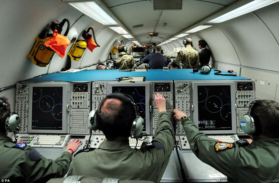 General view inside the E-3D Sentry aircraft at RAF Waddington, Lincolnshire