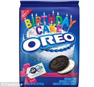 The limited edition 100th birthday Oreo features creme flecked with colour