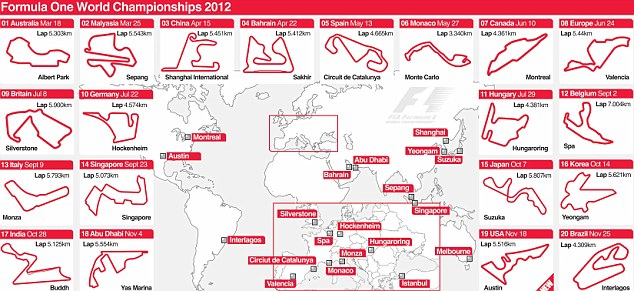 2012 F1 Calendar Dates and times of the 20 races  Daily