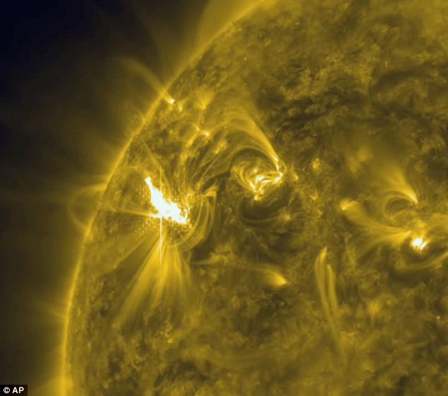 The X1 solar flare in a new active region on the sun, region 1429. It has let loose two M-class flares and one X-class so far