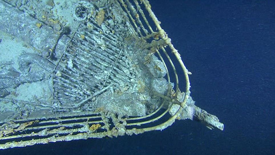 Tomado subaquático durante a expedição que tem como objetivo revelar o que aconteceu estruturalmente ao navio