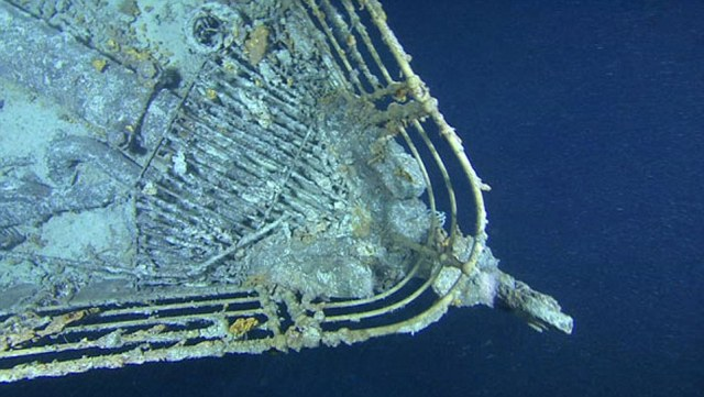 Taken underwater during the expedition that aims to reveal what happened structurally to the ship