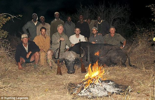 The group: The brothers, seen bottom center and right, went on the trip run by a company called Hunting Legends