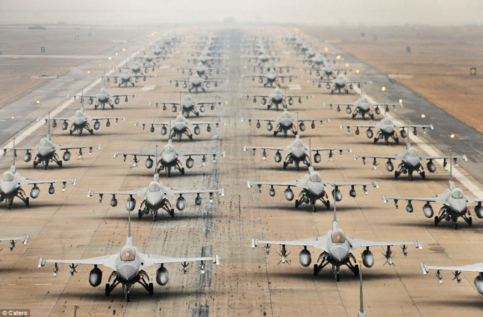 Formidable: Row after row of F-16 Fighting Falcons fills the airstrip in a show of force at Kunsan Air Base, South Korea