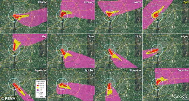 Spread: Another image shows the different radioactive fallout depending on the month