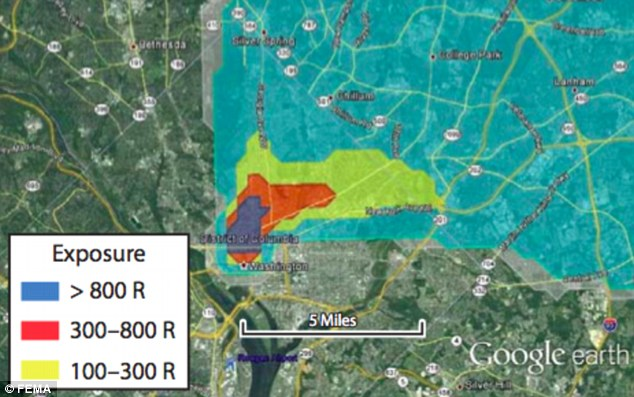 Threat: Another graphic shows areas of radioactive expose. People in the dark blue area would not survive