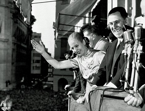 During the war, Argentinian President Juan Peron, pictured with his wife Eva in Buenos Aires in 1950, sold 10,000 blank Argentine passports to ODESSA ¿ the organisation set up to protect former SS men in the event of defeat
