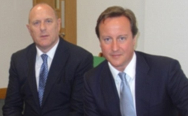 Close relationship: Tory treasurer Peter Cruddas, left, boasted that he could give donors private access to David Cameron, right