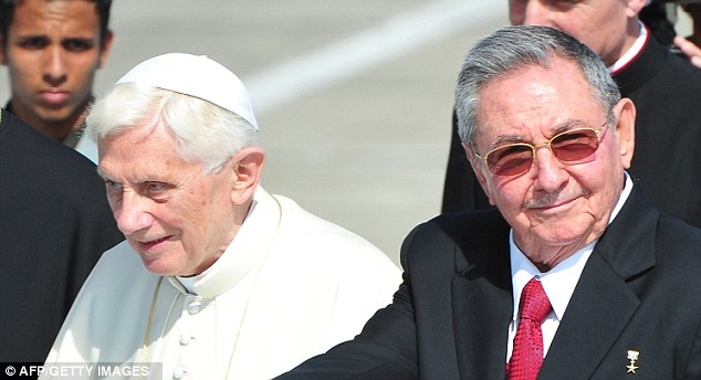 Pope Benedict XVI his greeted by Cuban President Raul Castro