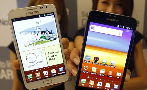Samsung's mid-sized Galaxy Note device which recently passed 5 million units shipped: In the next four years, Android devices are predicted to pass Microsoft's Windows in terms of units shipped