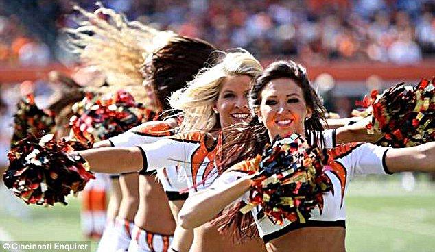 Cheer captain: Sarah Jones, front, has been a cheerleader with the Cincinnati Bengals for five years