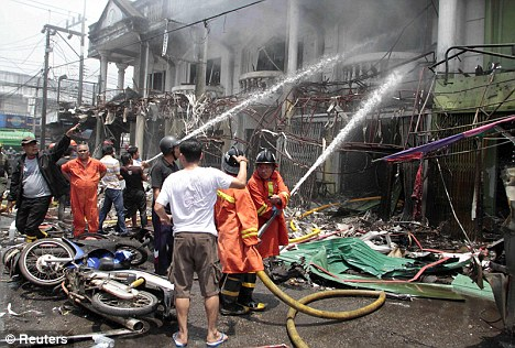 Eight people died and at least 70 were injured in a series of bomb explosions