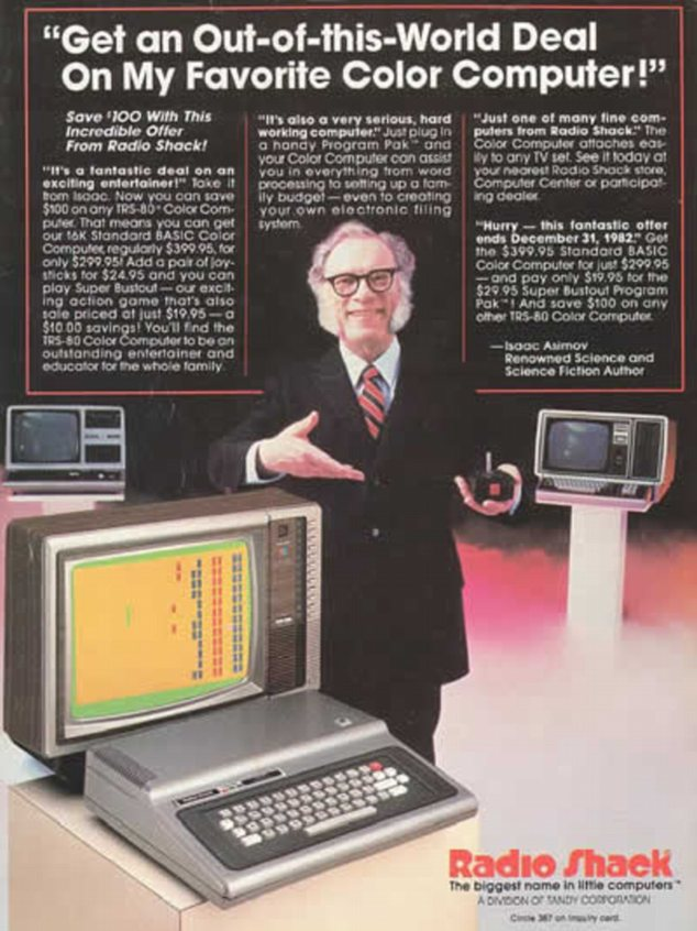 Star power: Sci-fi writer Isaac Asimov was another well-known spokesman for Radio Shack in the 1980s