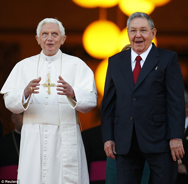 Visit: Pope Benedict XVI is welcomed by Cuban President Raul Castro at the Revolution Palace in Havana