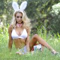 Courtney stodden hops into the woods in a skimpy costume to hunt for